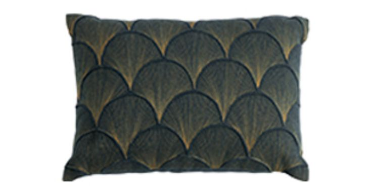 Ellery Embroidered Cushion 35 x 50cm, Teal and Gold | made.com