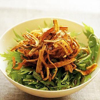パリパリごぼうと水菜のサラダ   石澤清美さんのおつまみの料理レシピ   プロの簡単料理レシピはレタスクラブニュース