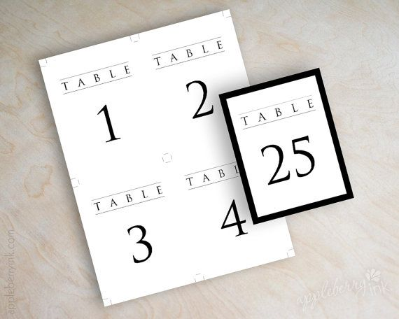 Instant download PDF, digital DIY table number template, printable reception table numbers, black and white wedding table card, numbers 1-32 on Etsy, $15.00