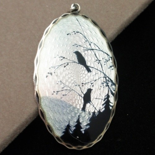 Norway Picture Pendant Vintage Sterling Silver Enamel Elvik Norway Blackbirds