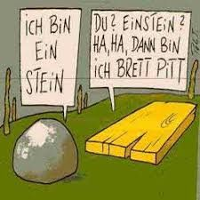 I am Einstein (a rock)... You Einsten? If you're Einsten then I'm Brett Pitt (Brett - board)