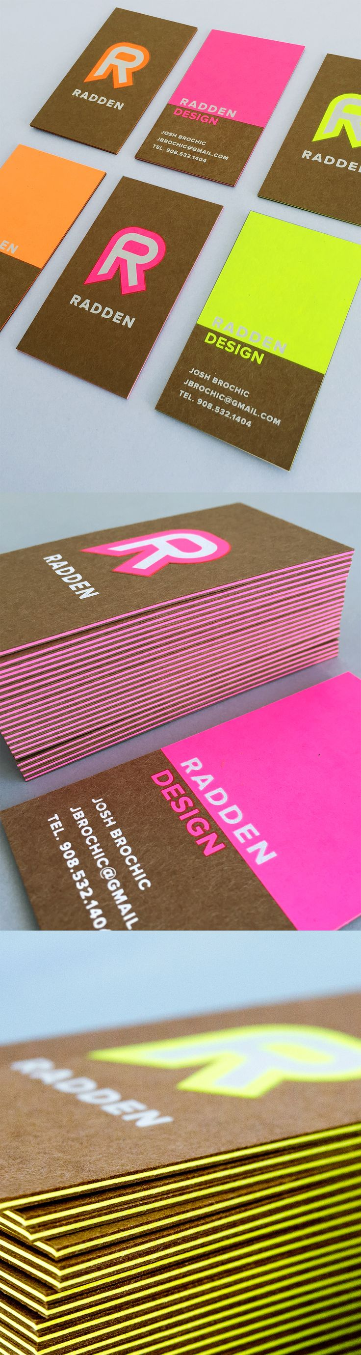 3ply Brown Kraft Business cards printed with White and Neon Inks. Produced by Jukebox Print