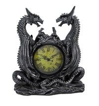 Made of cold cast resin, this incredibly cool battery powered desk or mantel clock features a pair o