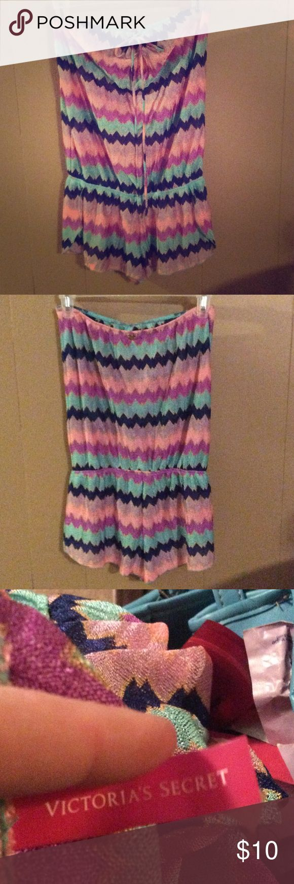 Victoria secret romper Multicolor see thru, more like a swimsuit cover up! Very cute! Size small Victoria's Secret Shorts