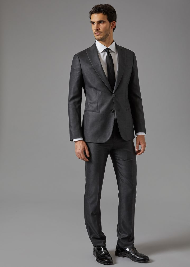 bcd907a57b288 GIORGIO ARMANI Soho suit in virgin wool and silk Suit Man f | Men ...