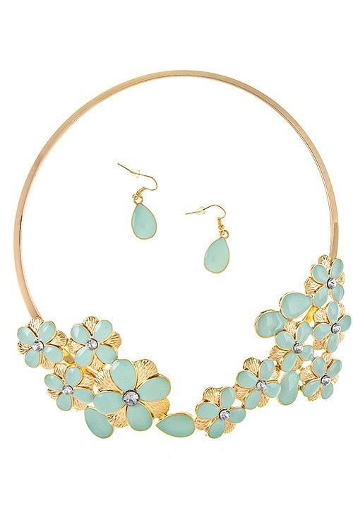 Gold Collar Necklace Set with Enamel Flowers and Blue Crystal Accents