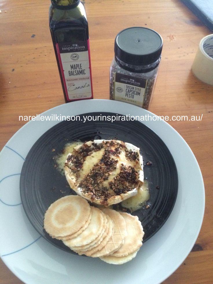 Omg yiah maple balsamic and Tuscan style capsicum pesto Camembert... Amazing