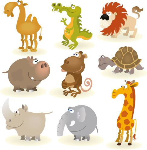 Animales tipo cartoon, imagen vectorial