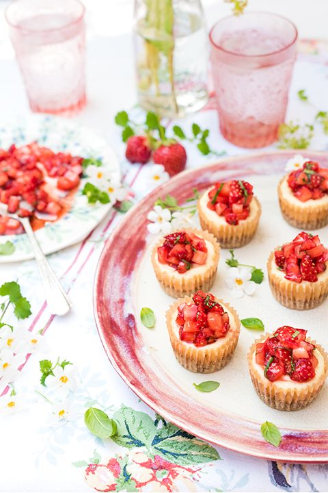 INGREDIENTS BY SAPUTO | Looking for gourmet dessert recipe ideas? How do cupcake-sized cheesecakes sound? Made with Saputo Ricotta filling and a garnish of strawberries and basil, these small cakes are the perfect fresh and fruity treat for entertaining!