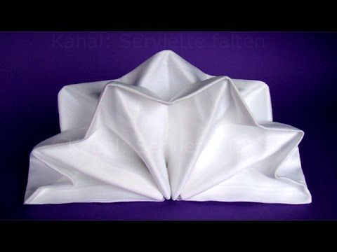 Napkin folding: Star.Napkin folding tutorial for christmas. Napkin folding: Standing Fan - YouTube