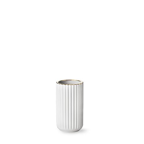 Our deluxe edition 15 cm original Lyngby vase in white porcelain with gold line