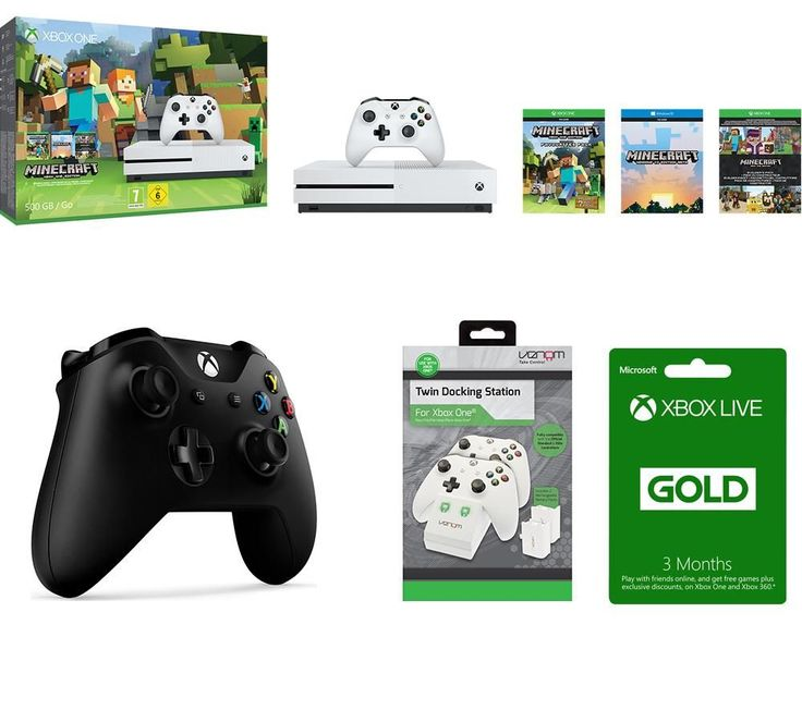MICROSOFT  Xbox One S with Gaming Bundle Price: £ 269.99 Pick up the latest Xbox console and discover another world with Minecraft Favourites , a Wireless Gamepad , Twin Docking Station and a Gold Membership to Xbox Live . _____________________________________________________________  Xbox One S Dive into the world's greatest games on a 40% smaller, more streamlined console with a modern new...