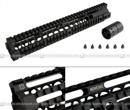 MadBull - Noveske Rifleworks Free Float 12.658inch Handguard Rail for M4 Series AEG by MADBULL. $120.29. This Sweet Sweet Licensed from Noveske Rifleworks, MadBull releases a 12.658inch Free Floating Handguard rail for AEGs. 100% CNC-milled from 6065 Aluminum and Hard Anodize processed, this RAS unit features 3 QD sling mount adaptors, with a Matte Black Oxide finish.Barrel not included.You may install a KX3, KFH, or a decoration Silencer Tube also from MadBull ...
