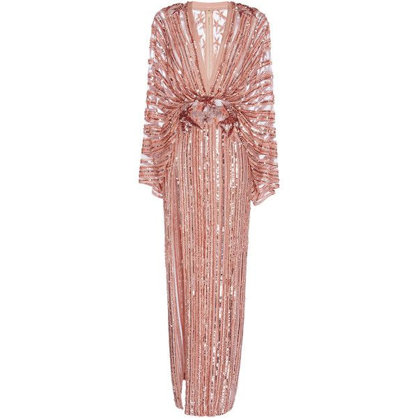 Elie Saab     Long Embroidered Dress With Kimono Sleeves And Deep... ($16,200) ❤ liked on Polyvore featuring dresses, elie saab, gowns, metallic, sequin dresses, plunging v neck dress, long sequin dress, red sequin dress and beaded dress