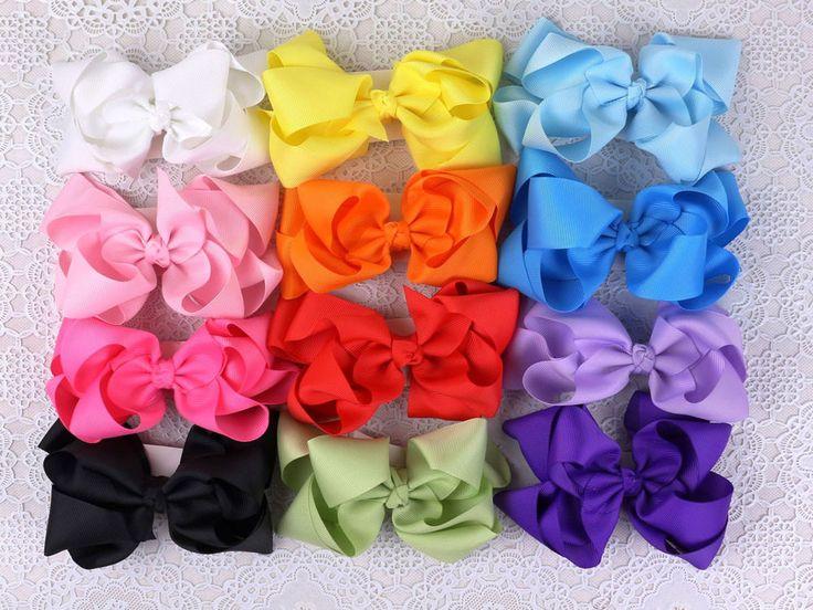 12PCS 5 pouces baby girls big gros-grain ribbon boutique hair bows alligator cli