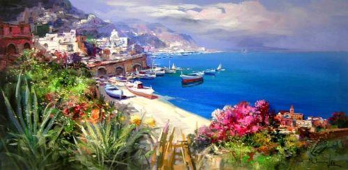 Mario Smeraglia, Amalfi MS2, olio su tela 60x120 cm.