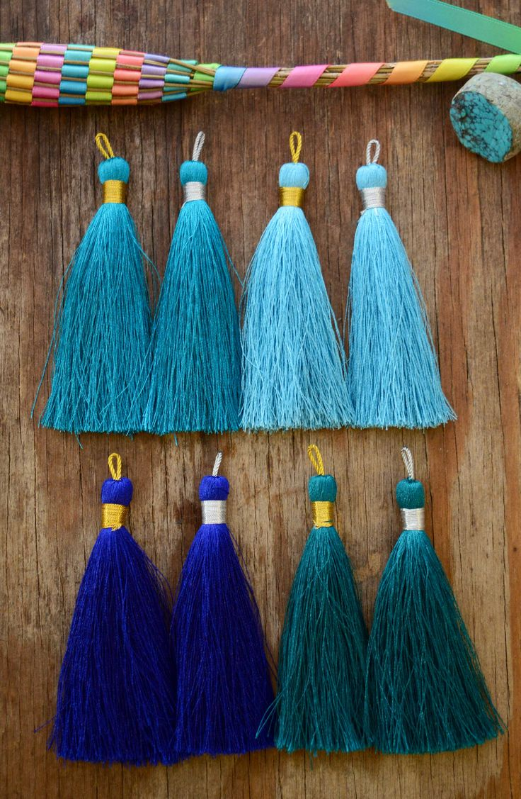"In the Blue Tassel Mix: Luxe Silky Tassels, 3"" (77mm) - Nature Beads"