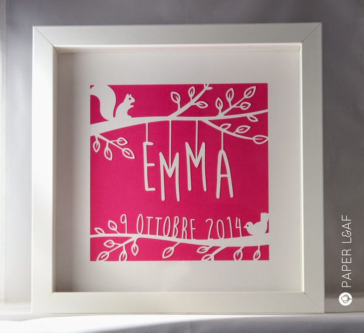New Baby Papercut | Paper cut for newborn *Emma* | Hand carved canson cardstock on pink paper | Paper Leaf