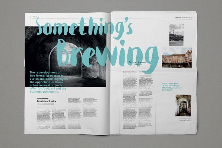 Typographical interest with large title covering two page spread. 4 column grid layout, with  page 2 using columns 3 & 4 images and pull quote.
