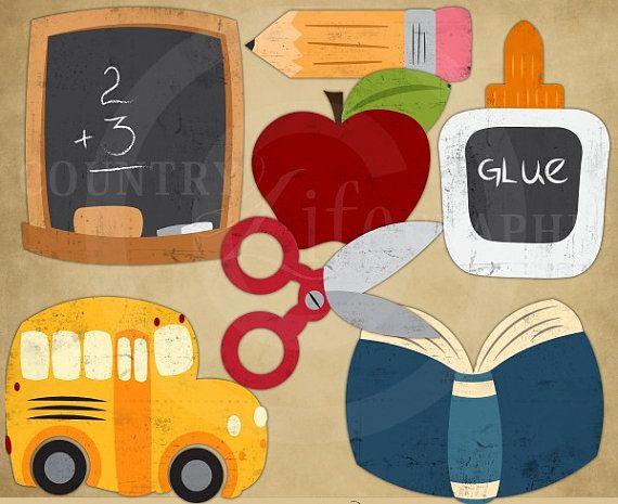 DIGITAL SCRAPBOOKING CLIPART - I Love School