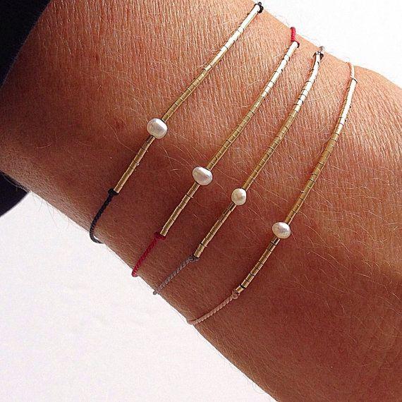 Tubos pequeños y perla de seda piedra por MirellaHammerJewelry