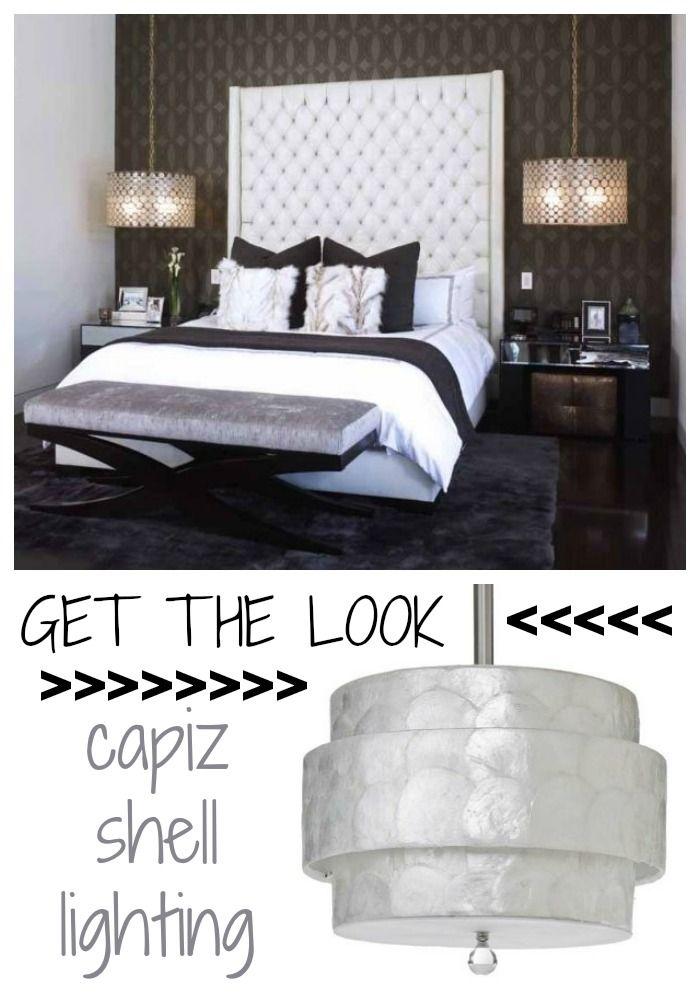 Get The Look : Pair Of Orbit Capiz Shell Pendants Hanging Over Nightstands  For Elegant Soft