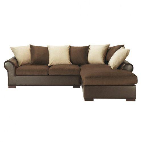 Canapé d'angle convertible 5 places imitation cuir et tissu marron