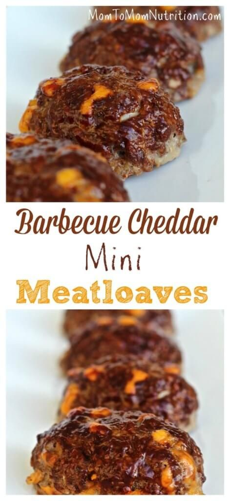 These kid-sized barbecue cheddar mini meatloaves are flavored with barbecue sauce and studded with yummy cheddar cheese. @MomNutrition