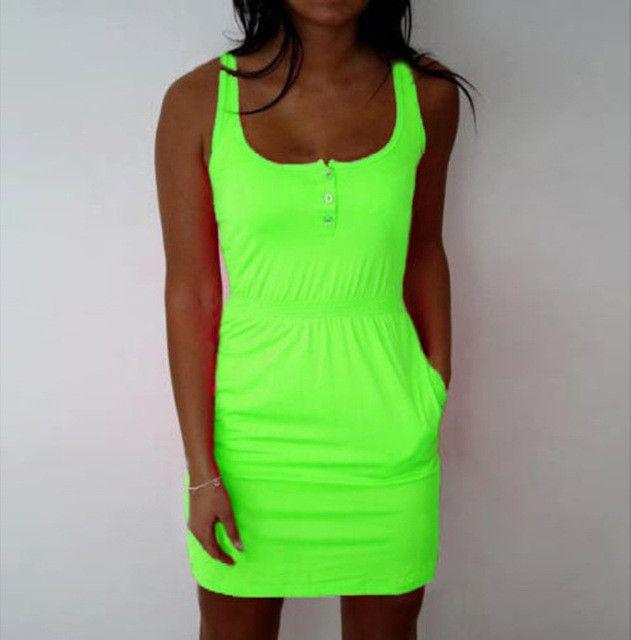 Beach fluorescent color Mini Dress