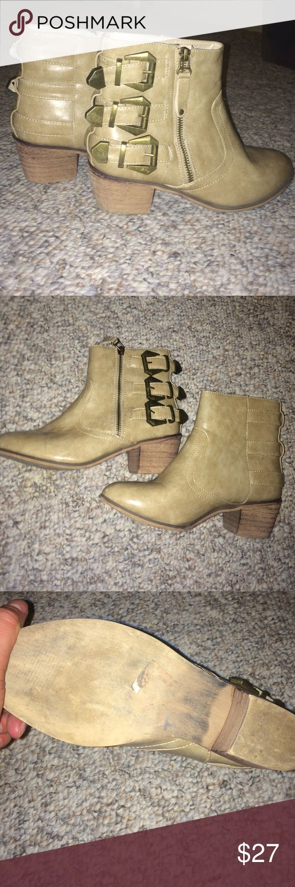 SUPER CUTE BOOTS!!!! These boots are in great condition with 3 buckles and a zipper on the outside. Cream colored. Perfect with skinny jeans!! bucco Shoes Ankle Boots & Booties