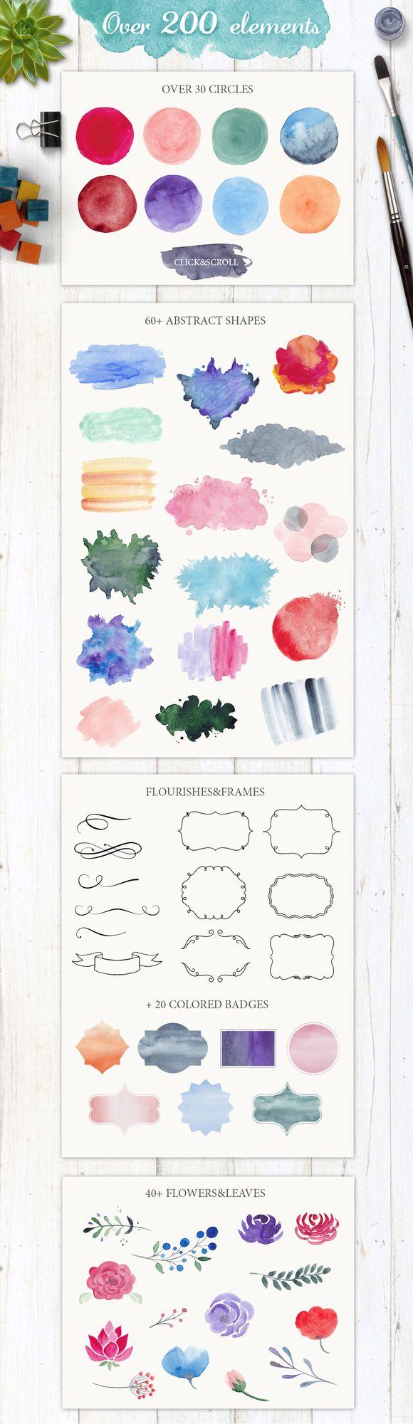 200 watercolor elements Download Watercolor Logo Bundle DIY http://crtv.mk/y4Ev #watercolor #watercolorlogo #bundle #graphics #designkit #watercolour #logotype #watercolor_logo #watercolor_texture #wash