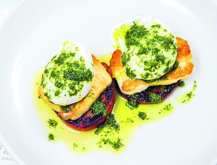 How to make Poached Eggs with Roasted Tomatoes and Haloumi for a delicious breakfast