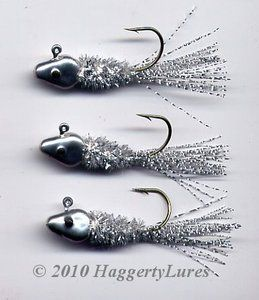 Chenille Flashtail Crappie Jig - Minnow head - Silver. Site also has other fishing gear & you can design your own jigs