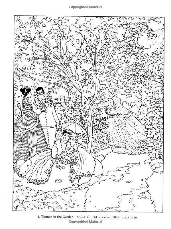 Volwassenen Y Kleurplaten Monet Women In The Garden Colorear Los Dibus Diy