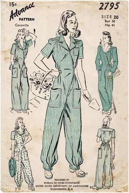 """Vintage 1942 women's overalls jumpsuit or """"siren suits"""" sewing pattern - Advance Coverette 2795"""