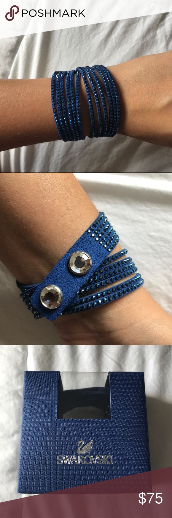 Swarovski slake bracelet Adorable blue Swarovski slake bracelet. Never worn comes with original box, bag, and receipt. Purchased in Italy and was given as a gift. 100% authentic. Swarovski Jewelry Bracelets