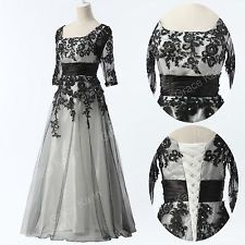 VICTORIAN~LACE 50s Evening Wedding Party Ball Gown Long Prom Dresses