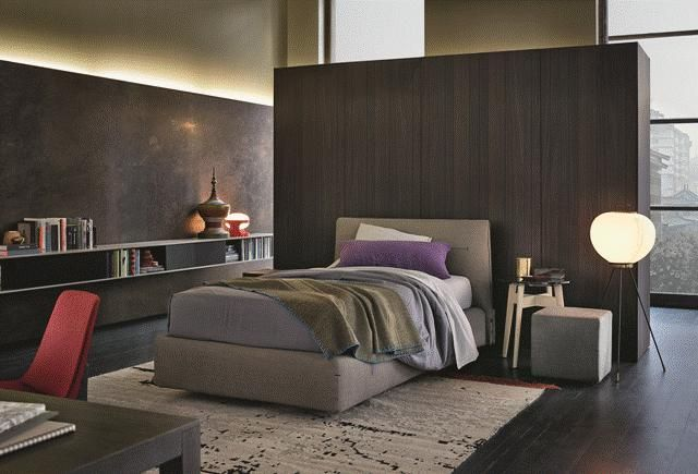 POLIFORM: Jacqueline single bed, Bigger bedside table and Skip wall mounted bookshelves, Ipsilon coffee tables, Play pouf and Ventura chair