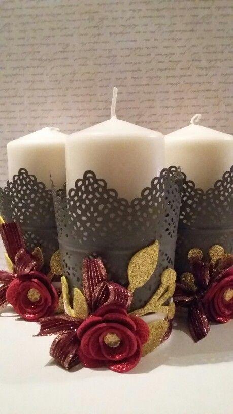 Vasetto decorato con crepla glitterata