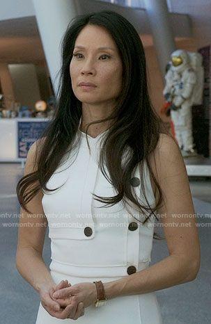 Joan's white buttoned dress on Elementary.  Outfit Details: https://wornontv.net/64089/ #Elementary