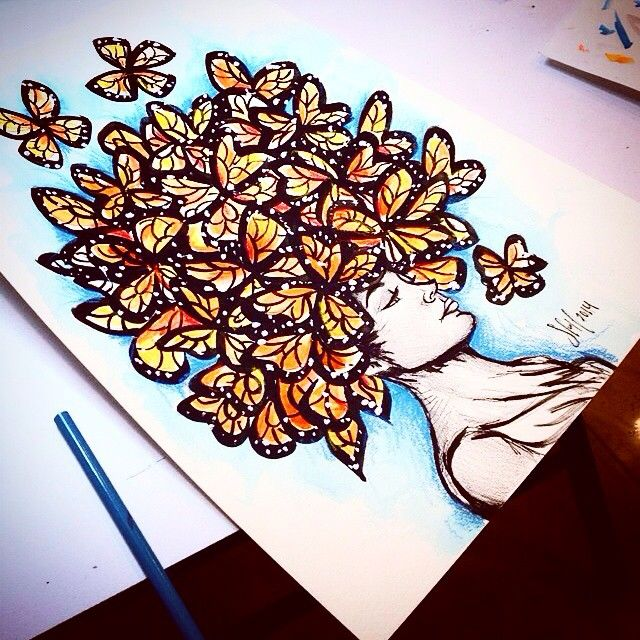 Butterfly Ladey  by Sofia Castellanos #porquemexicolopidio #osomness  #hairdress #art #illustration #artist #iphonesia #instagram #comeback #iloveit""