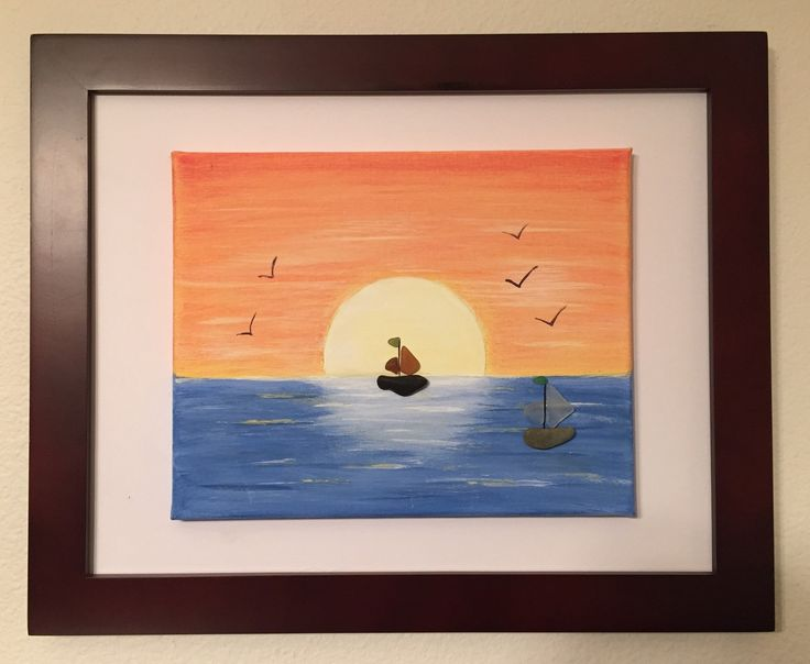 Pintura acrílico de puesta de sol en un 10 x 8 flotante lona en un marco de madera chocolate 16 x 13 con veleros de vidrio/gravilla de mar genuina como acentos.