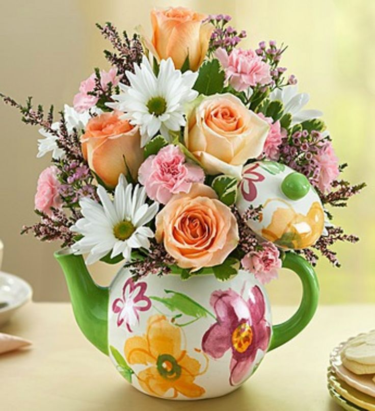 187 best images about flower teapot bouquet on pinterest for Mother day flower arrangements