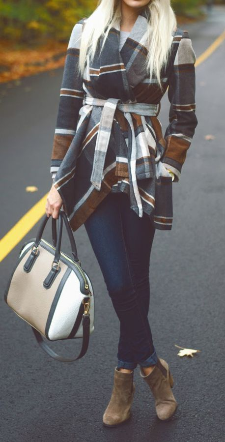 Fall Plaid Coat with Navy Skinny and Booties.