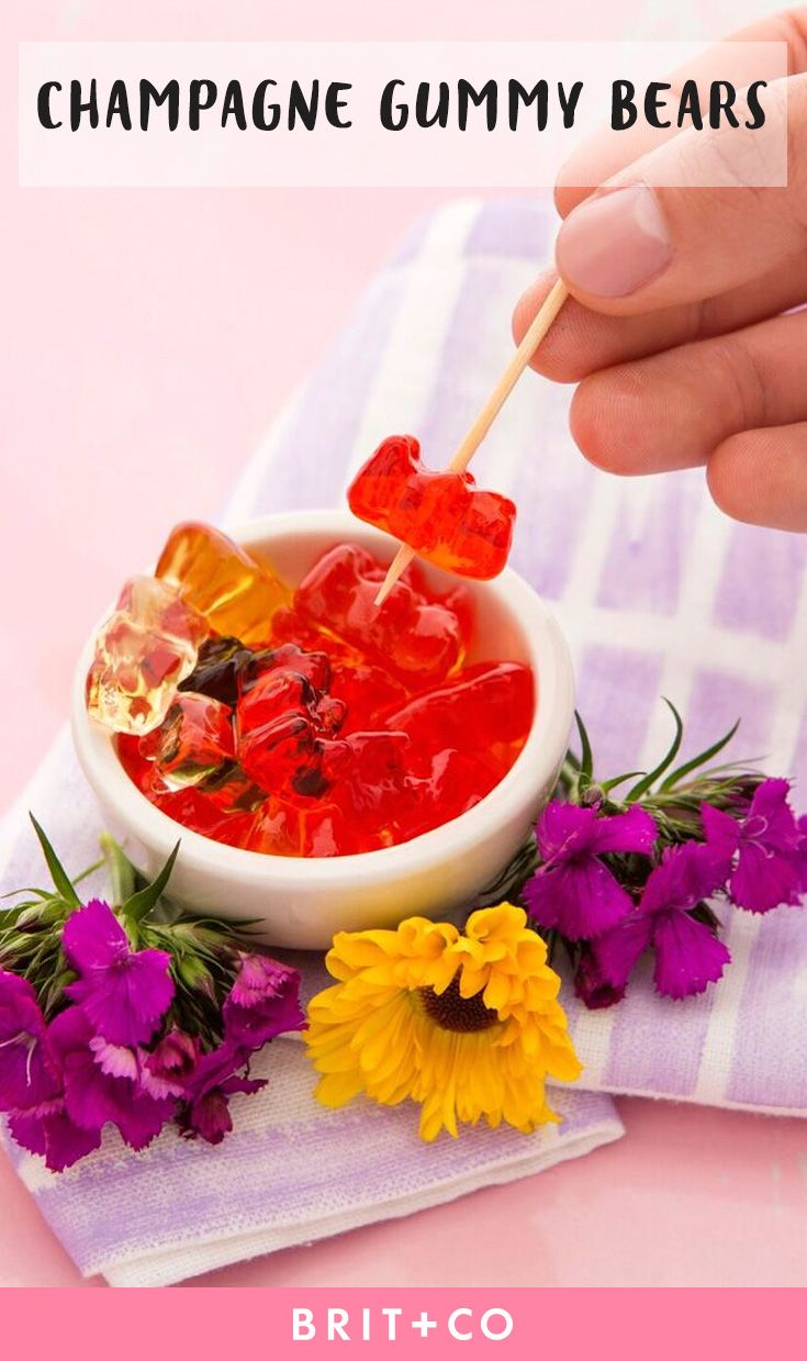 Use this spiked recipe to make Boozy Champagne Gummy Bears for your summer parties.