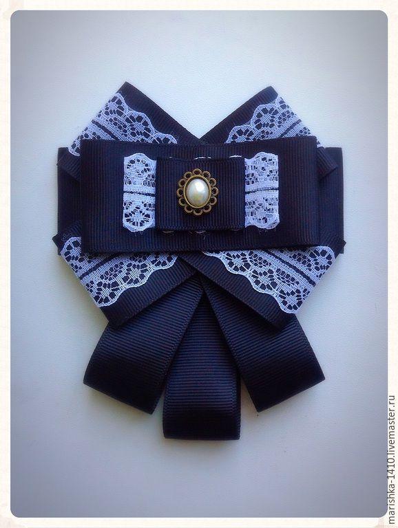 Купить Брошь - черно-белый, брошь ручной работы, брошь, галстук женский, школьная форма