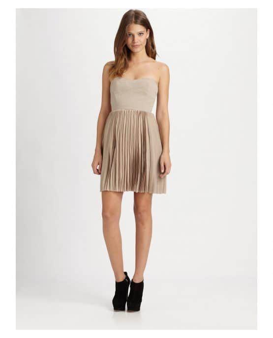 BCBG Beige Strapless Pleated Pumice Dress Canada