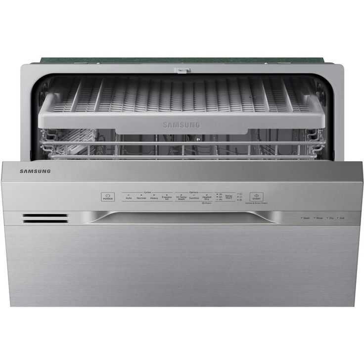 Samsung 24 In Stainless Steel Front Control Dishwasher With 3rd Rack And 51 Dba Dw80n3030us The Home Depot Built In Dishwasher Cabin Kitchens Doors Interior