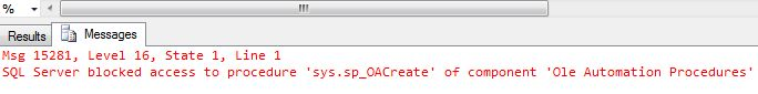 SQL Server blocked access to procedure 'sys.sp_OACreate' of component 'Ole Automation Procedures'