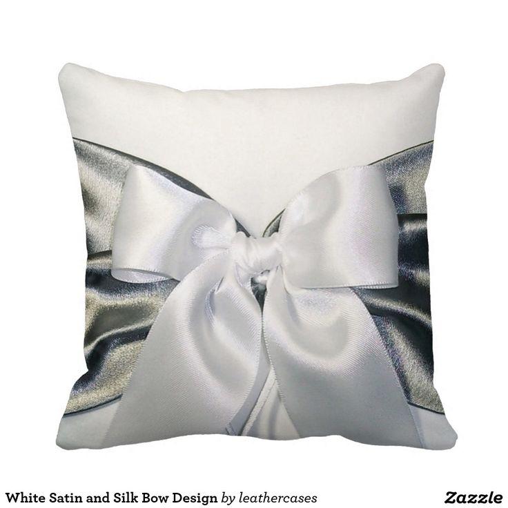 White Satin and Silk Bow Design Throw Pillow
